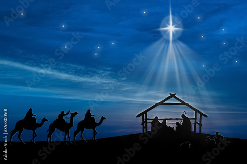 Foto Christmas nativity scene of baby Jesus in the manger with Joseph, Mary, shepherd