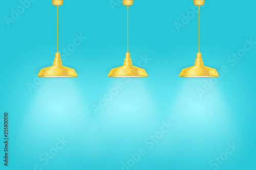 Fotografie, Tablou Interior of Blue wall with yellow vintage pedant lamps