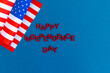 American flag for Independence Day on blue