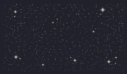 Stary night sky horizontal vector background. Vector illustration