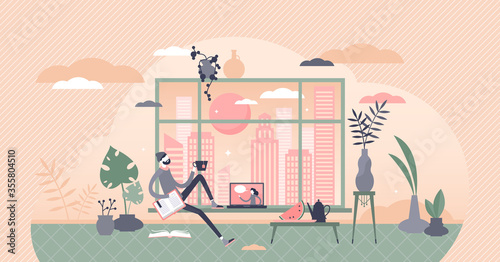 Free time vector illustration. Relaxing at home flat tiny persons concept. #355804510