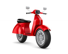 Red Scooter On White Backgroun...