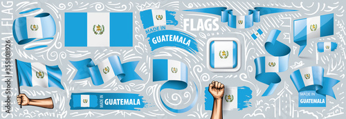 Vector set of the national flag of Guatemala in various creative designs Fototapeta