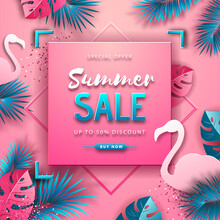 Summer Sale Poster With Pink A...