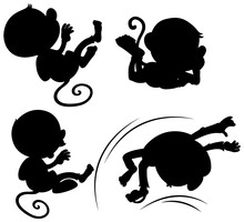 Set Of Monkey Silhouette
