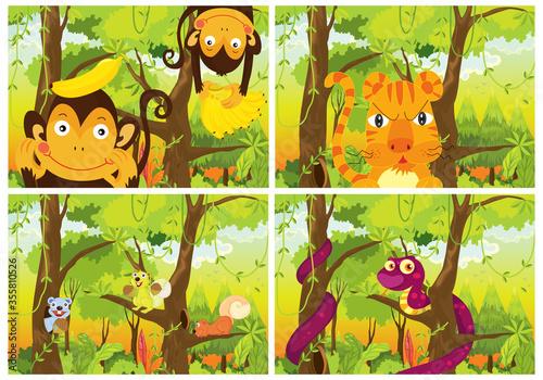 Set of wild animals in forest #355810526