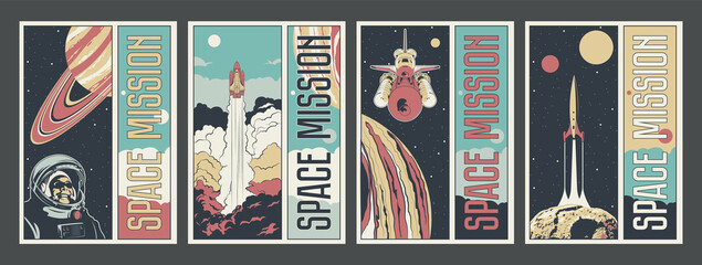Space Misson Propaganda Poster Set, Astronaut, Spacecraft, Jupiter, Saturn, Asteroid, Space Rocket Launch, Astronautics Program Placards