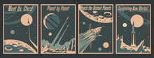 Retro Futurism Space Conquering Poster Set, Spacecraft, Rockets, Space Mission Propaganda Placards