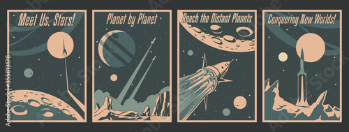 Foto Retro Futurism Space Conquering Poster Set, Spacecraft, Rockets, Space Mission P