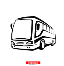 Bus School Icon Flat Design St...