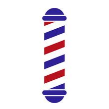 Barber Shop Pole Vector Illustration. Isolated Black Red Blue On White Background. Retro Spiral Vintage Light Symbol. Old Hair Hairsut Style Logo Glass Cylinder. Salon