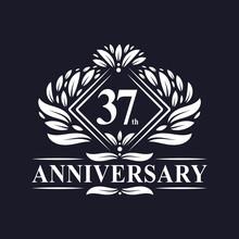 37 Years Anniversary Logo, Luxury Floral 37th Anniversary Logo.