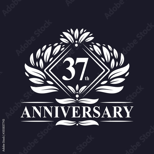 Fotografie, Obraz 37 years Anniversary Logo, Luxury floral 37th anniversary logo.