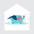 Young man sleeping on sofa inside the house with a pile of books on the floor beside the couch. Flat style vector illustration.