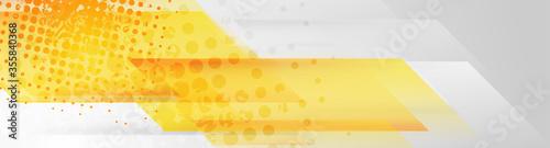 Obraz Yellow and grey abstract geometric grunge banner design. Hi-tech vector background - fototapety do salonu