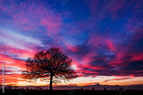 Fotografia tramonto invernale sul Monviso