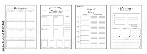 Priorities and wishes minimalist planner page set Tableau sur Toile