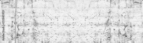 Fototapeta Old shabby white concrete wall wide texture. Damaged whitewashed cement surface large grunge background obraz