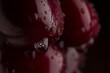 Background from sweet fresh wet red cherry, macro shot