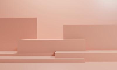 3d rendering illustration of background abstract pedestal board, art display mockup product decoration wallpaper