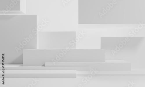 Cuadros en Lienzo 3d rendering illustration of background abstract pedestal board, art display moc