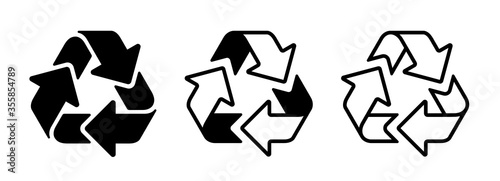 Obraz na plátne Vector recycle symbol set