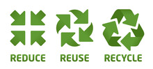 Vector Reduce Reuse Recycle Symbol Set. Green Icons On White Background