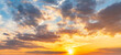Yellow sky sunset clouds nature background.