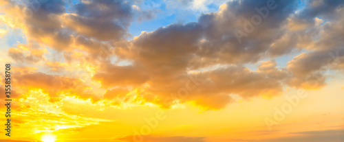 Fototapety, obrazy: Yellow sky sunset clouds nature background.