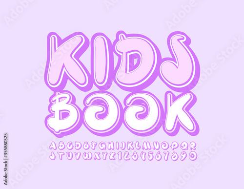 Fototapeta Vector cute emblem Kids Book with artistic Font