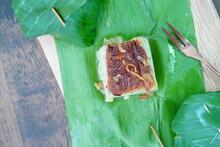"""Thai Dessert """"Khanom Maw Kaeng"""" Wrapped In Banana Leaves"""
