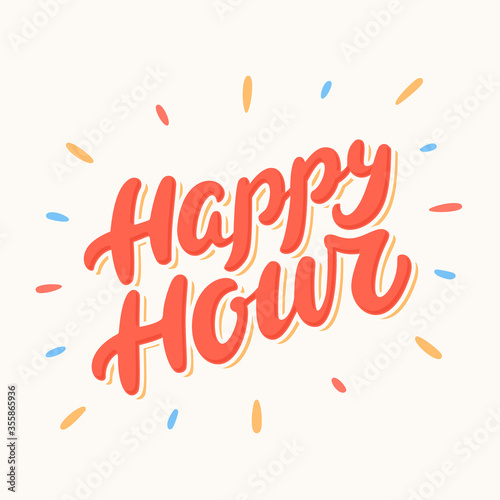 Fotografia Happy hour sign. Vector lettering.