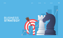 Business Strategy And Business Analysis Concept. Growing Graph, Target And Chess Pieces. Vector Illustration.
