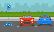 Disabled Parking Area. Front View. Flat Vector Illustration.