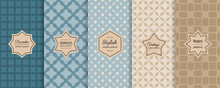 Vector Geometric Seamless Patterns Collection. Bright Retro Backgrounds With Elegant Minimal Stickers. Set Of Abstract Vintage Ornament Textures With Floral Shape, Grid. Teal, Blue, Beige, Brown Color