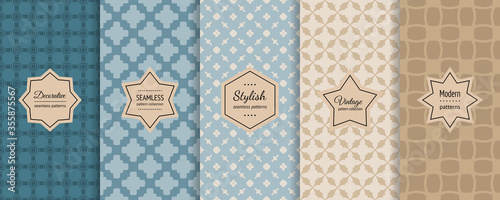 Fototapeta Vector geometric seamless patterns collection. Bright retro backgrounds with elegant minimal stickers. Set of abstract vintage ornament textures with floral shape, grid. Teal, blue, beige, brown color obraz na płótnie