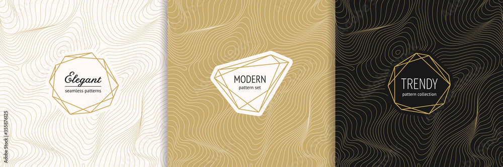 Fototapeta Vector golden seamless pattern collection with modern minimal labels. Luxury minimalist linear gold backgrounds with thin curved lines. Metal foil abstract texture. Dynamic surface. Trendy design