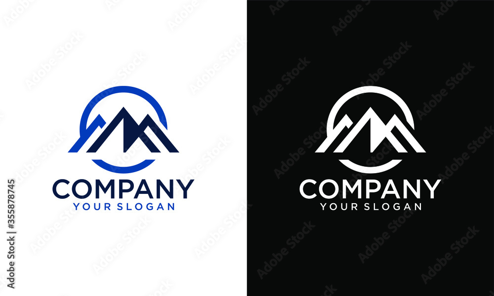 Fototapeta Mountains - vector logo template illustration. Outdoor adventure creative badge sign. Graphic design element.