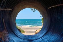 View Of The Sea Through A Tunn...