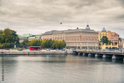 Fotografie, Obraz Embankment in the central part of Stockholm, Sweden.