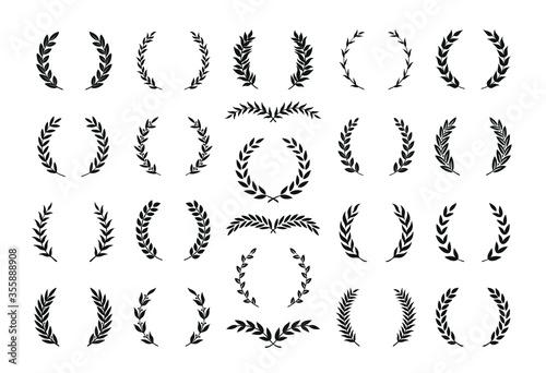 Set of different black and white silhouette round laurel foliate and olive wreaths depicting an award, achievement, heraldry, nobility, emblem Tapéta, Fotótapéta