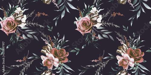 retro-kwiaty-z-liscmi-na-czarnej-scianie