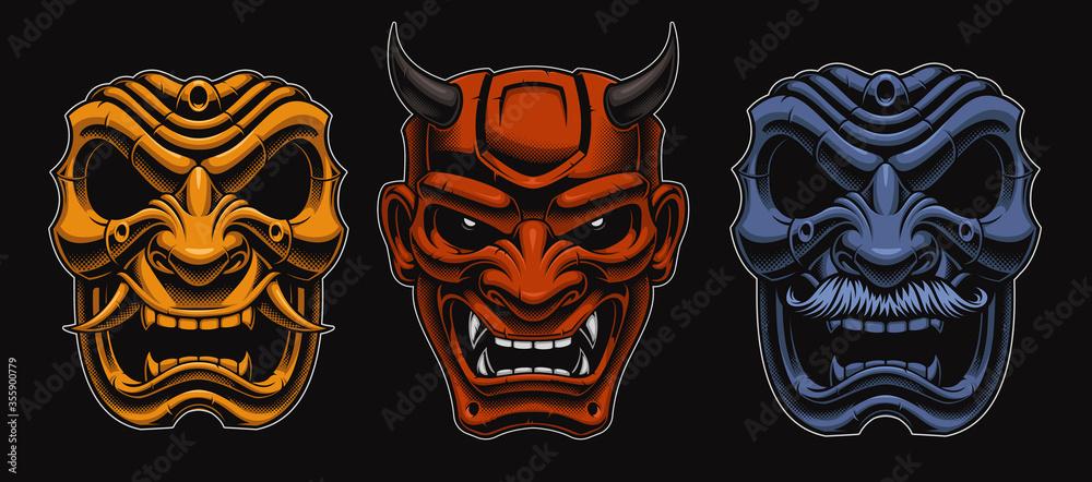 Fototapeta Set of vector Japanese masks of samurais isolated on the dark background.