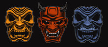 Set Of Vector Japanese Masks O...