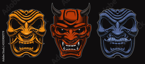 Photo Set of vector Japanese masks of samurais isolated on the dark background