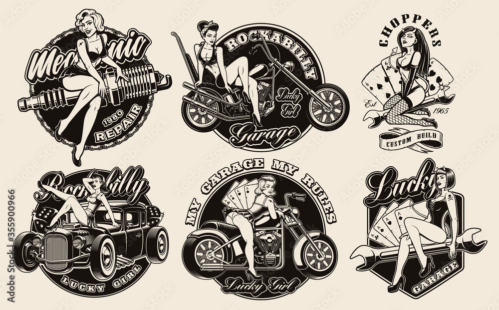 Fototapeta Set of vintage pin-up girls for apparel, logos, posters, and many other uses.