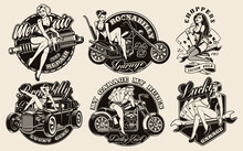 Set Of Vintage Pin-up Girls For Apparel, Logos, Posters, And Many Other Uses.