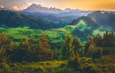 Panel Szklany Góry Widok na Tatry z Wysokiego Wierchu, Pieniny, Polska, Słowacja
