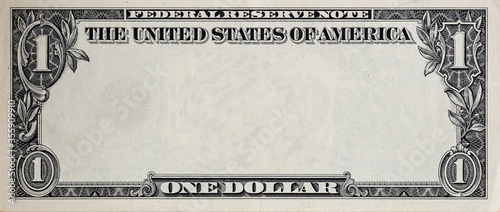Fototapeta U.S. 1 dollar border with empty middle area obraz