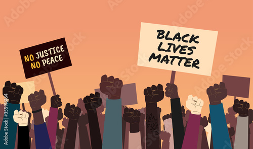 Fototapeta Stock vector illustration of anti-racist protesters with